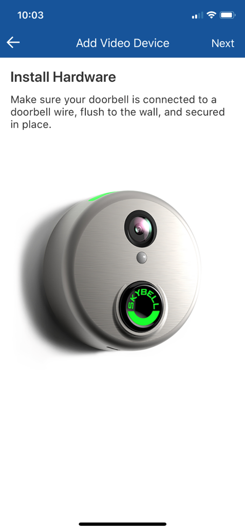 How to synchronize the doorbell camera to your Wi-Fi and Bell Security and Automation service.