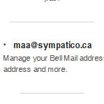 Scroll to the email section to see a list of your Bell Mail addresses.
