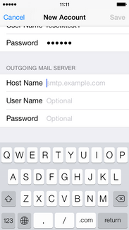 Enter the outgoing mail server host name for your account.