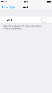 If Wi-Fi is off, touch the slider to turn it on.