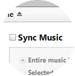 Click Sync Music, then select the option you require.