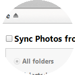 Click Sync Photos from, then select the option you require.