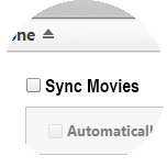 Click Sync Movies, then select the option you require.