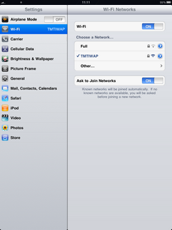 Your iPad is connected to the Wi-Fi network.