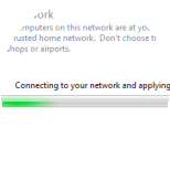 Wait while the computer automatically applies the settings and connects to the network.