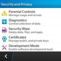 Scroll to and touch Security Wipe.