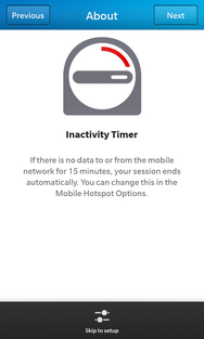 Review the Inactivity Timer message, then touch Next.