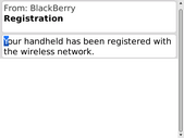 The Bold 9700 has been registered with the network.