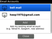 The selected email account has been changed.
