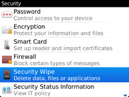 Scroll to and select Security Wipe.