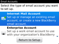 Select Internet Mail Account.