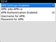 The APN settings are displayed.If editing is required, after any changes touch the Menu key.