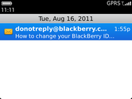 Select the email with the subject How to change your BlackBerry ID.