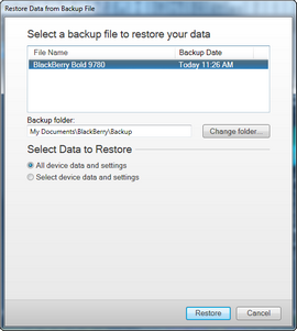 Select the backup you require, then click Restore.