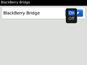 In the BlackBerry Bridge drop-down menu, select On.