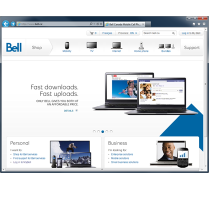 Open a web browser and navigate to bell.ca.