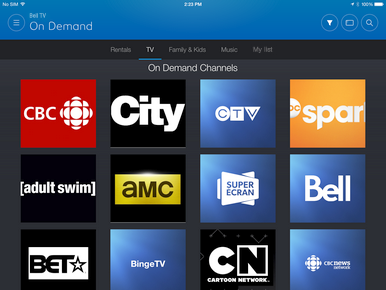 The TV tab contains On Demand shows and movies for the channels that you are subscribed to.