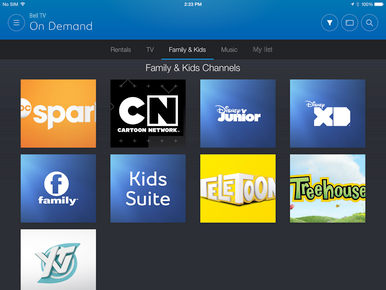 Content can be found on either the TV tab, or the Family & Kids tab.