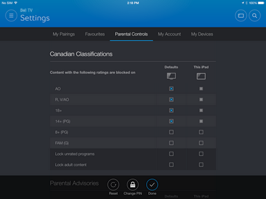 In the right column, set parental controls that will apply to the current device. This device-specific setting takes priority over the account-wide settings.