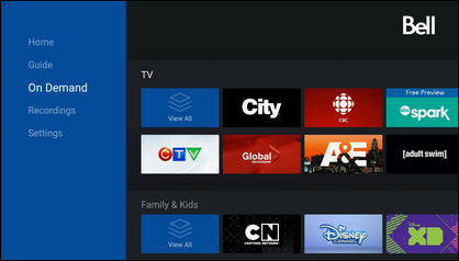 On Demand displays available On Demand movies, series and shows.
