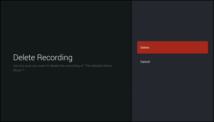 Select Delete to confirm that you want to delete the recording.