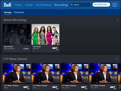 The Recordings tab shows everything that is currently recorded on your PVR.Recordings from the last 7 days are shown at the top in the Recent recordings row.Each of your recorded TV shows has its own row on the page, with the rows in alphabetical order. Scroll up and down to navigate around the page.All of your recorded movies are grouped together further down.