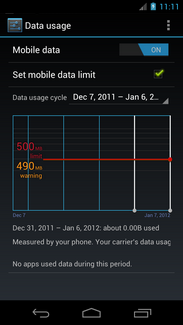 The data usage warning and limit are both set.