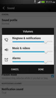 To decrease the volume of the ringtone and notifications, move the slider for Ringtone & notifications to the left.
