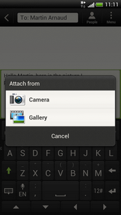 Touch the required option (e.g. Gallery).