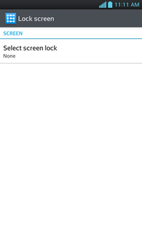 The screen lock has been turned off.