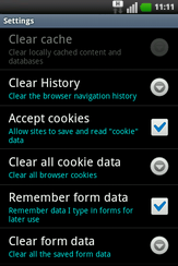 The cache has been cleared. Touch Clear all cookie data.