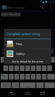 If asked, touch the required option (e.g. Gallery).