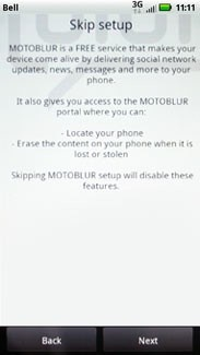 When prompted to set up a MOTOBLUR account, touch Next.