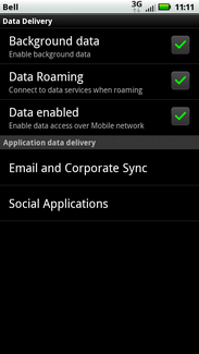 Data roaming is turned on. Touch Data roaming again to turn it off.