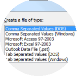 Click Comma Separated Values (Windows).