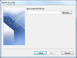 Click Browse to choose where you would like to save the CSV file.