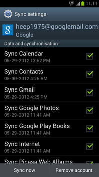 Touch Sync now to synchronize the contacts.