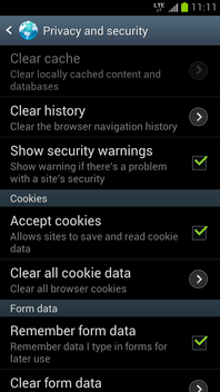 Touch Clear all cookie data.