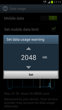 Scroll to the required data usage warning.