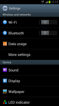 Touch More settings.