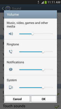 To decrease the volume of the ringtone, move the slider for Ringtone to the left.