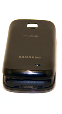 Line up the battery cover with the back of the Galaxy 551 and push down until the cover clicks into place.
