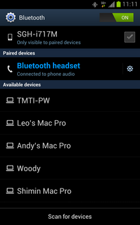 The Bluetooth headset is now paired and connected.