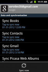 Touch Sync now to synchronize the contacts to the phone.