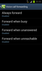 Touch the required option (e.g. Forward when unanswered).