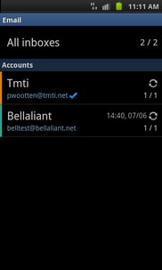 Touch and hold the required account (e.g. Bellaliant).