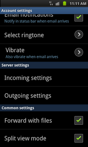 Scroll to incoming or outgoing server settings. The most common settings to change are the outgoing settings; to do this, touch Outgoing settings.