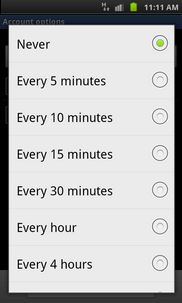 Touch the required setting (e.g. Every 30 minutes).