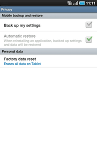 Touch Factory data reset.