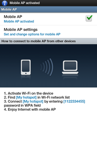 The portable Wi-Fi hotspot is now active. Other devices can now connect with the tablet.